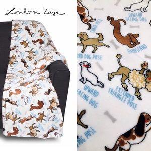 London Kaye Dogs Puppy Yoga Yogis Throw Blanket